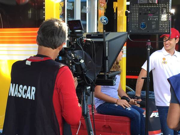 Our Interrotron Mark 4 being used for an interview at Nascar
