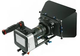 Close Up of New AMC ULtra HD 4K Black Magic CineCamera with 14 to 105 zoom rods, focus control and matte box