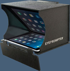 Photo of our EyePrompter portable iPad Teleprompter