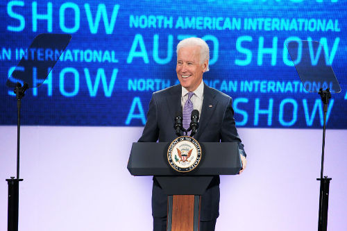 Vice President Joe Biden delivers a speech at the North American International Auto Show using our Presidential Teleprompter Rental