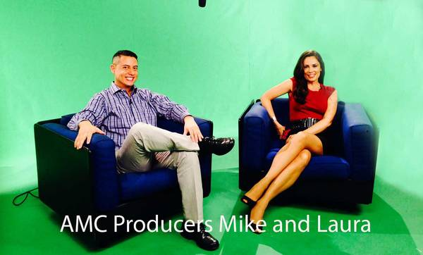 AMC Producers Mike and Laura sitting on black chairs in front of green screen