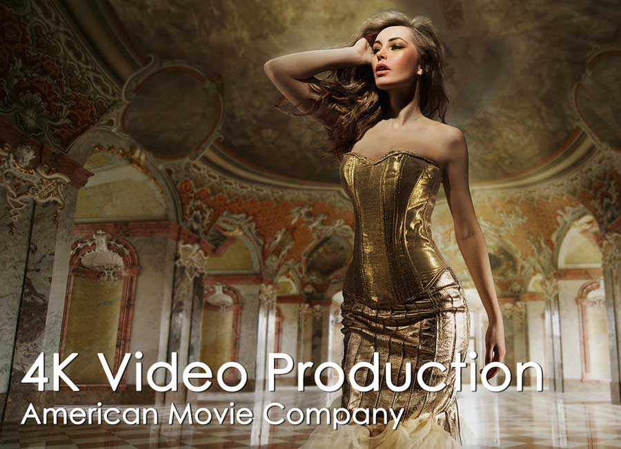 woman in music video with gold dress