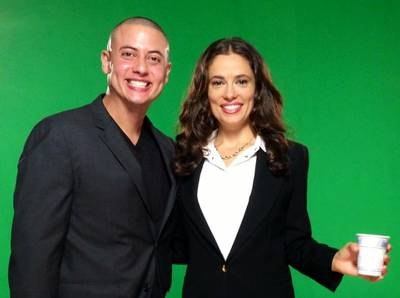 Michael Gonzalez and Laura Williams - green screen behind them