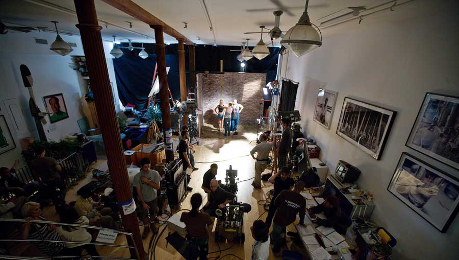 aerial shot of video production lighting & gear in action