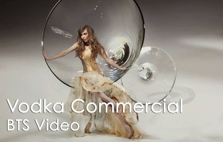 Vodka commercial BTS video - image of woman in white