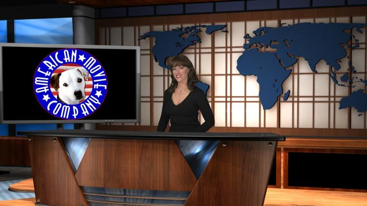 Woman behind desk - screen with AMC logo