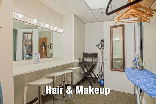 Hair and Makeup Room - ironing board, hangers