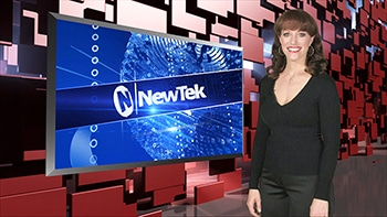Woman standing to the right of - Newtek Logo