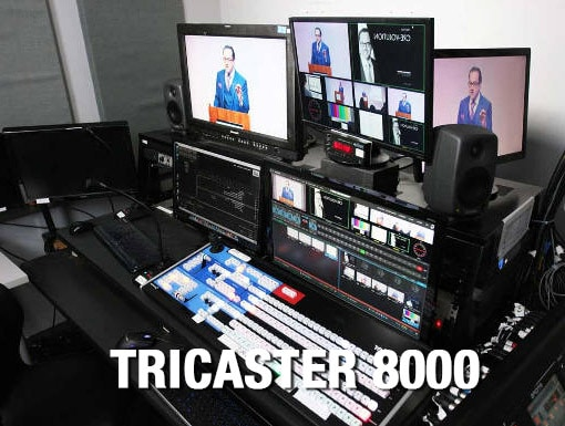 Tricaster 8000 in control room with monitors and control surface