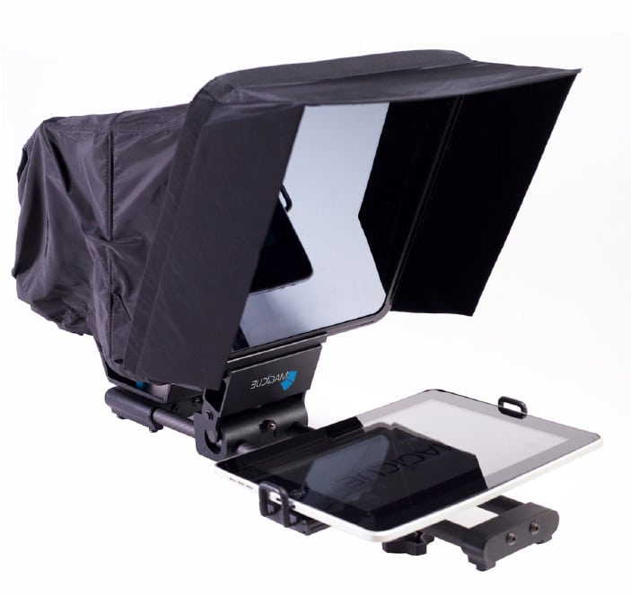 MagiCue IPad Prompter . with black hood and iPad against white