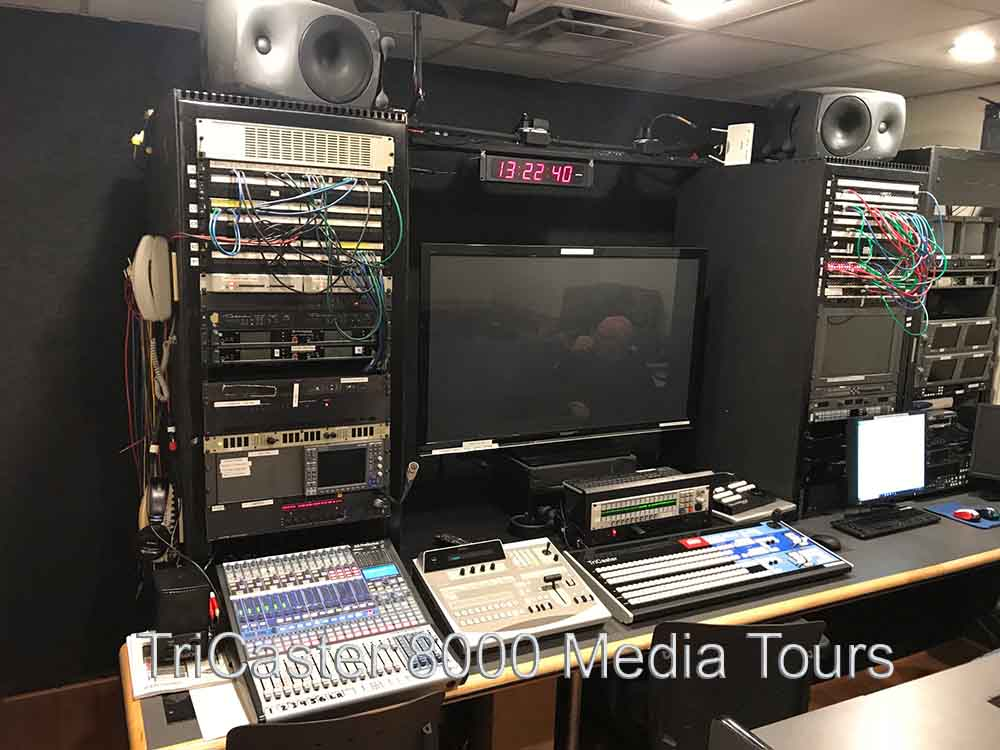 TriCaster 8000 Control Room Sound Mixer, Control Surface, monitors, speakers