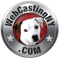 WebCastingNY.com logo . metallic with dog in the middle of circle