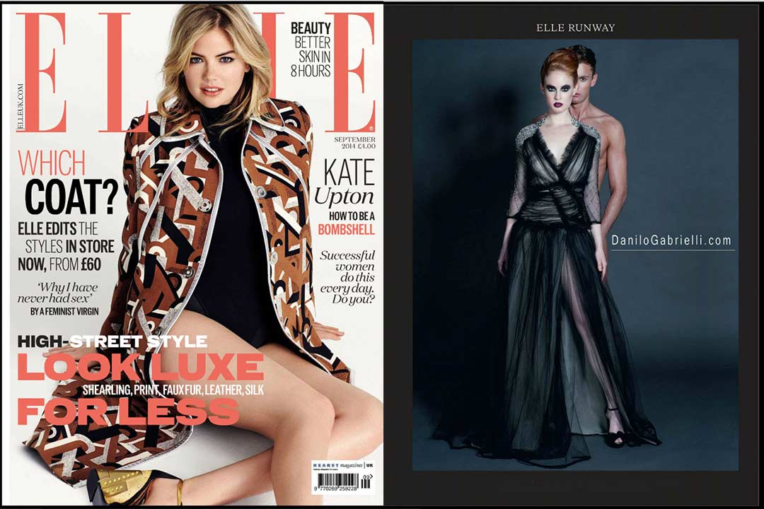 Elle Magazine UK with fold out page with model wearing Danilo Gabrielli design dress