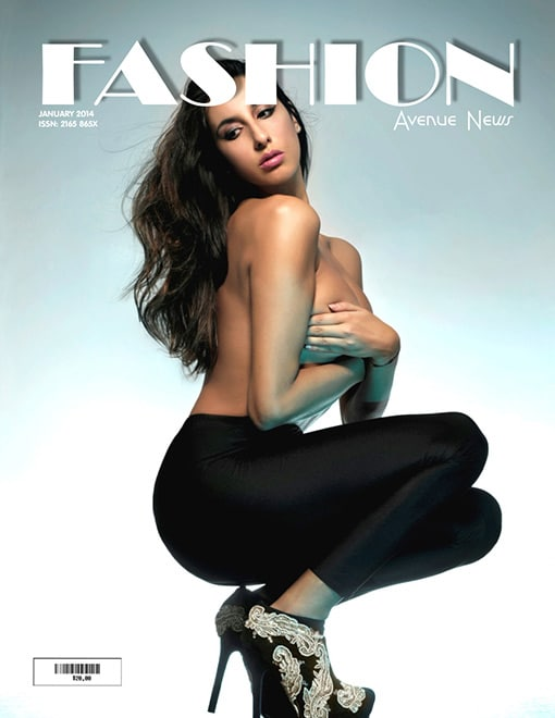 Pamela Qinzi crouching on the cover of Fashion Magazine