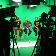 Green Screen Video Production, 3 Men on Stools in front of Cameras. AMC Green Screen Studio Rental