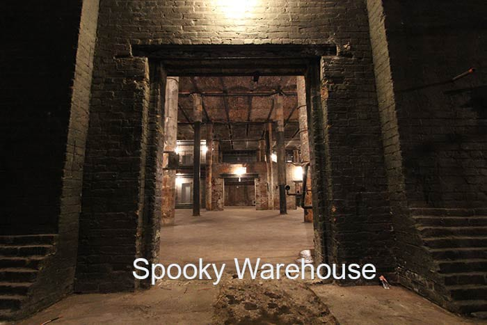 Spooky Warehouse night low light high ceilings