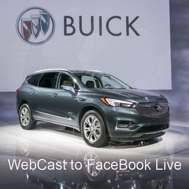 2018 Buick Avenir Revealed on FaceBook . Gray car on turntable in studio Live Webcast.