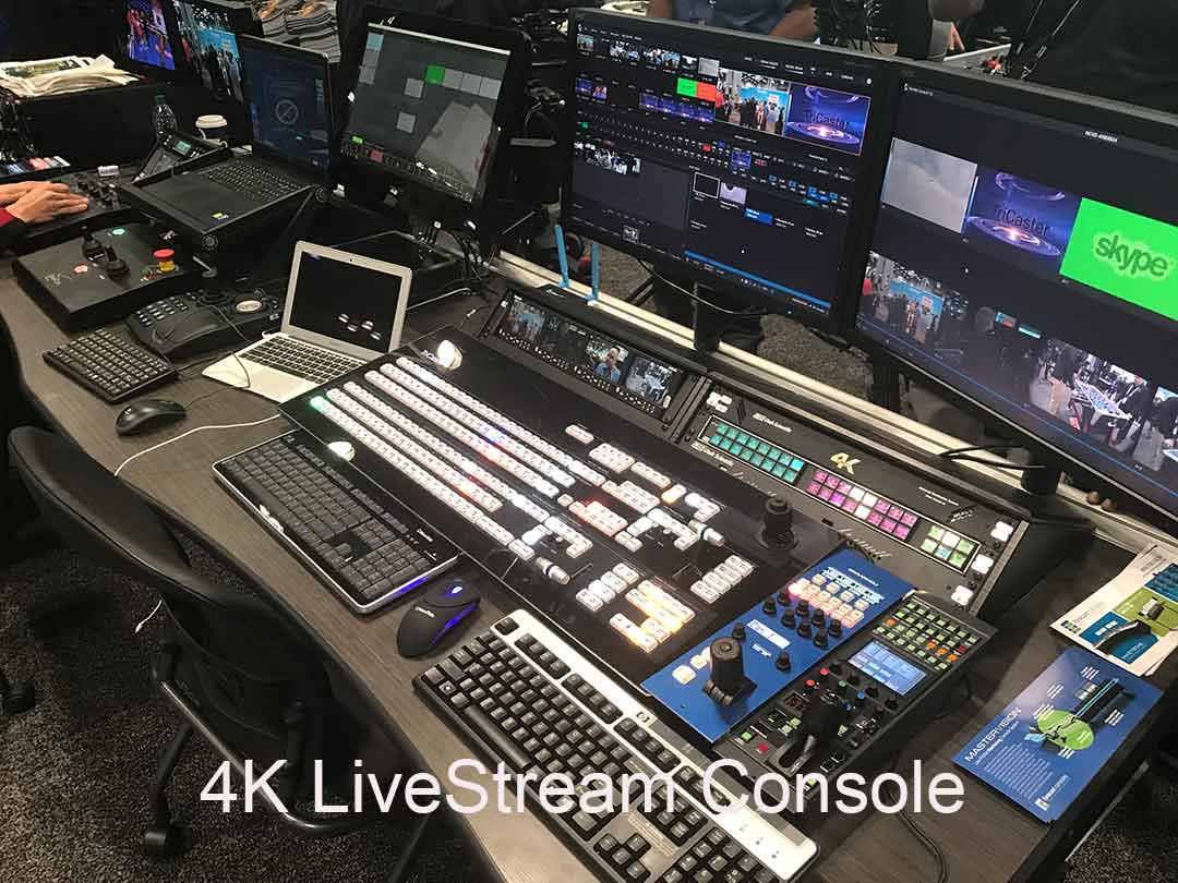 Massive LiveStream Console with Tricaster 8000 and LiveStream encoder, switches, monitors and digital recorders