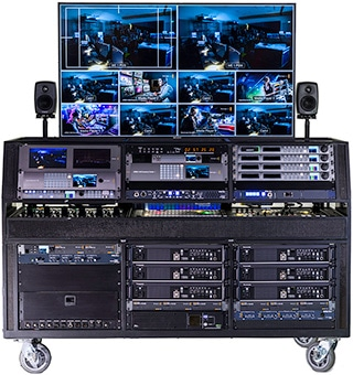 American Movie Top of the line LiveStream / Tricaster Flypack in large rolling multi RU unit