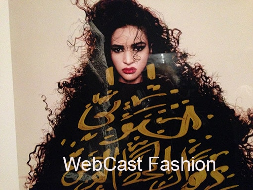 Fashion Webcast . Beautiful exotic woman in fur