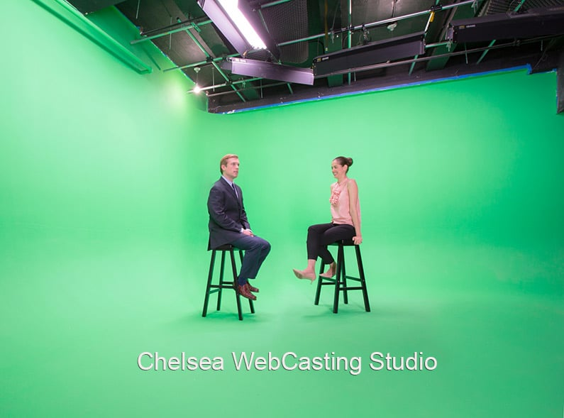 Chelsea WebCasting Studio - LargeGreen Screen two walled cyc with two people sitting no stools in the center