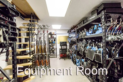 Brooklyn Prime Equipment Room shelves with grip and lighting gear