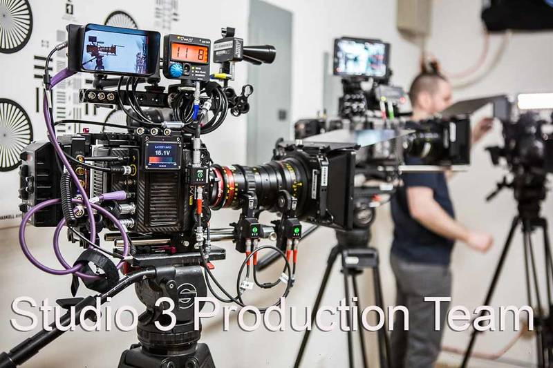 Studio 3 Production Team: Video crew and high end cameras on tripods