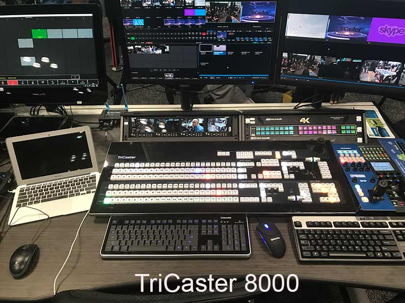 Image * Tricaster 8000 control room with unit and monitors and other gear