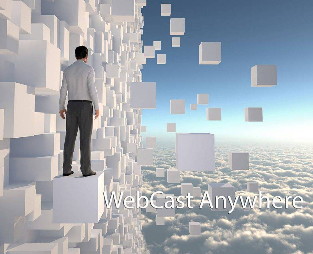 Man standing on white blocks in the sky . caption Webcast Anywhere
