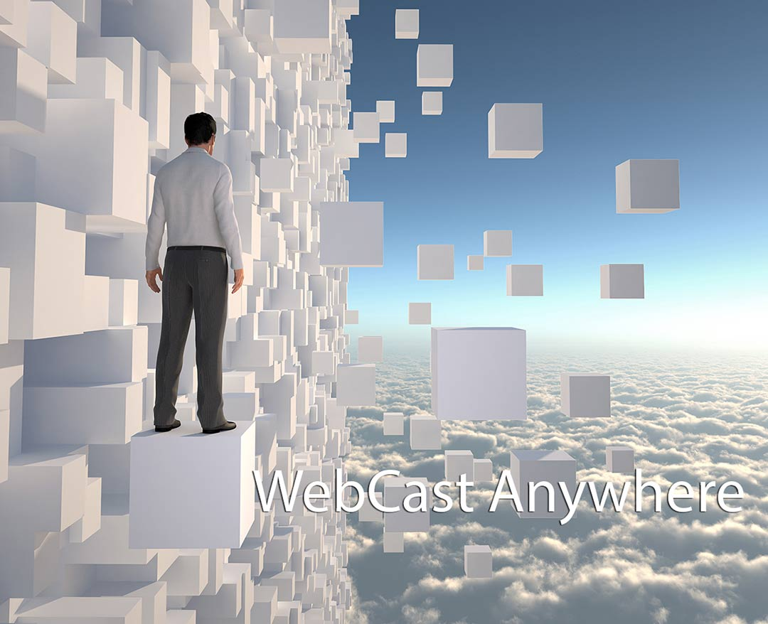 Man stanfing of white blocks in the sky . caption Webcast Anywhere