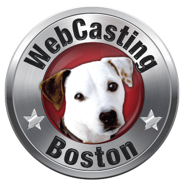WebCasting Boston logo .white dog on red . background with silver outer ring . with URL name