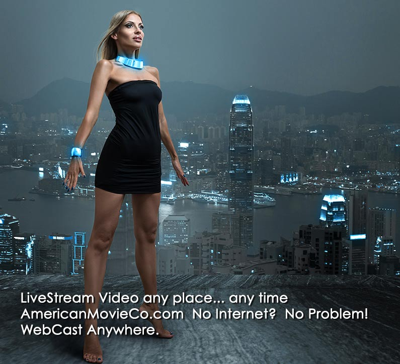 "Beautiful Model stands on rooftop overlooking city. Caption ""Webcast Anywhere"""
