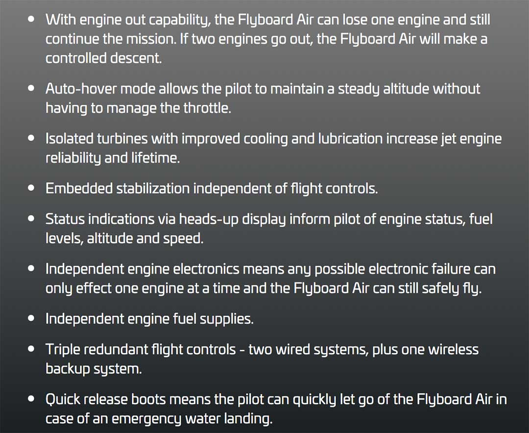 Flyboard Specs List of attributes of the new Flyboard Air 2018