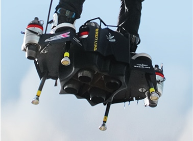 Close up view of the Flyboard Air turbine-engines