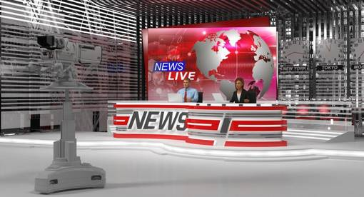 News Live News desk at TV Studio with Presenters Rigged model