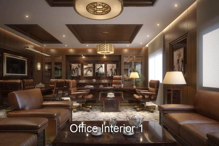 Virtual Sets: Executive Office Interior Leather Couches