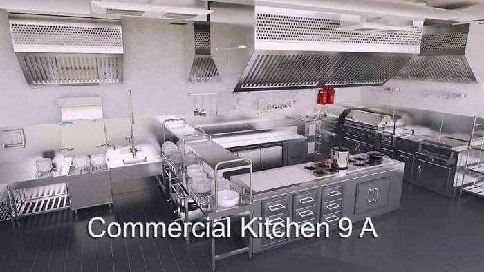 3D 4K Virtual Sets: Commercial Kitchen 9A