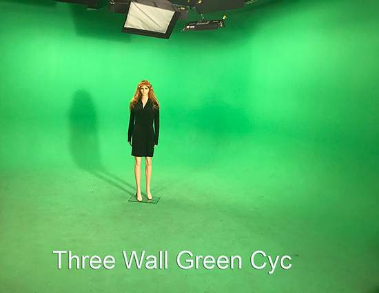A Mannequin in front of a green screen: AMC Green Screen Studio Rentals