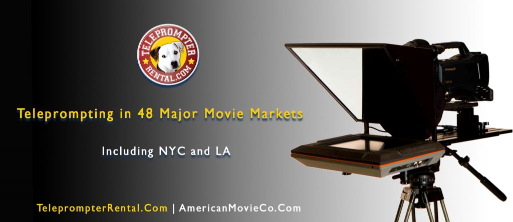 Teleprompter and Teleprompter Rental.com logo and text - Teleprompting in 48 Major Movie Markets