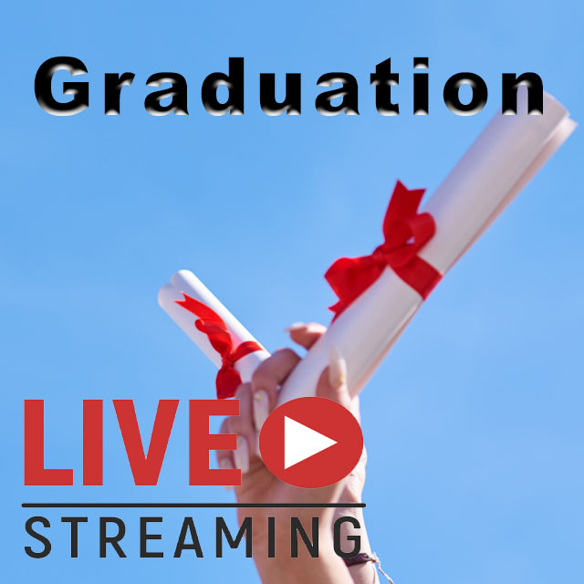 WebCasting: Banner - Graduation - Live Streaming - Blue background - letters black and red.