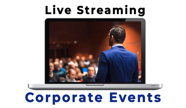 WebCast: Live Streaming Corporate Events - Man seen from the back addfressing a room full of people in soft focus.
