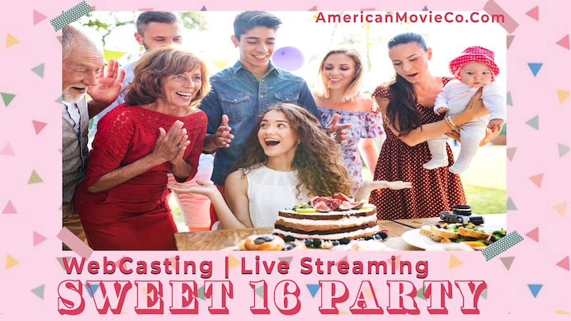 Sweet 16 Party - people around table with cake and other goodies.  WebCasting Live Streaming