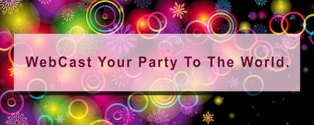 WebCast Your Party To The World - banner  - colorful spirals in the background.