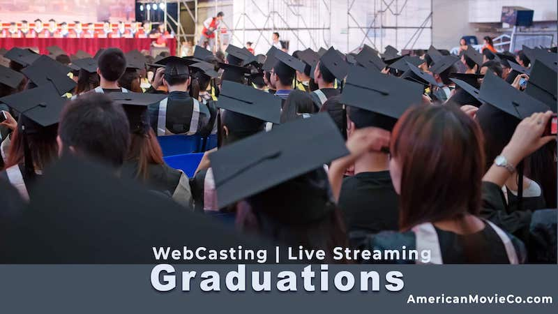 Students with caps and gowns attend their graduation!  WebCasting Live Streaming Graduations - AmericanMovieCo.com