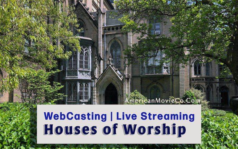 Cathedral and foliage and trees in the background of sign - WebCasting | Live Streaming Houses of Worship