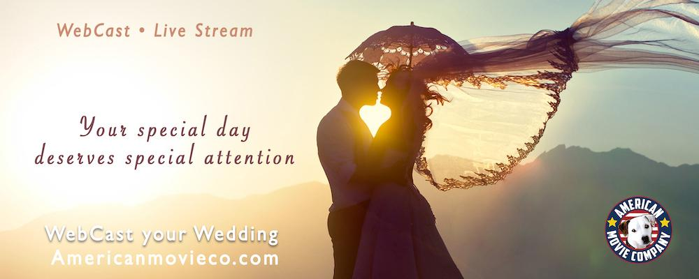 WebCasting, Live Streaming your Wedding with American Movie Company. Happy married couple enjoying a sunset.